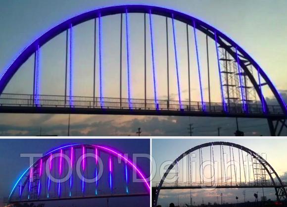 Архитектурная подсветка моста в Казахстане