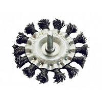 Щетка 75 мм для дрели плоская со шпилькой крученая металлическая проволока MATRIX