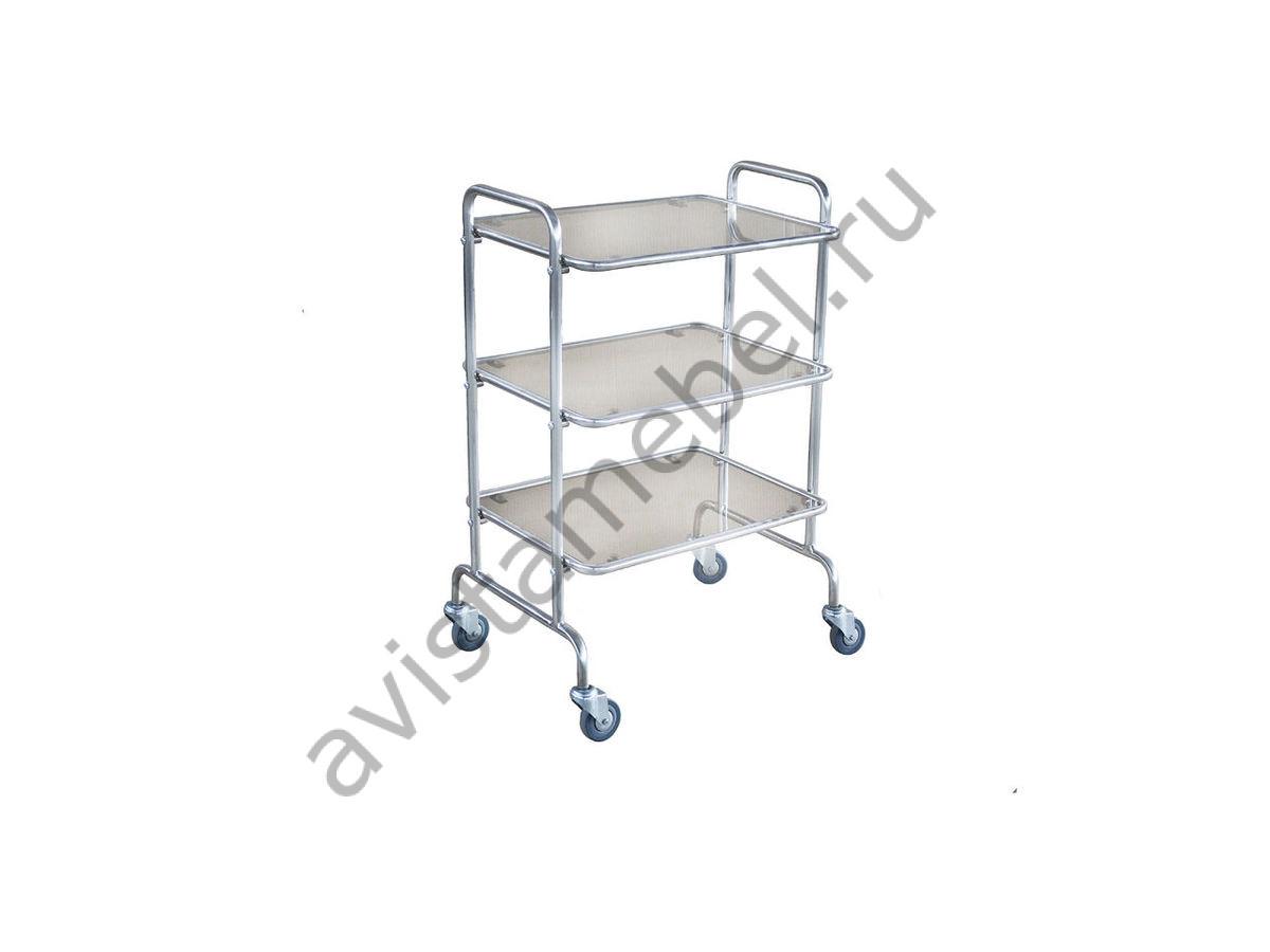 Столик медицинский предметный Смп-1 (нержавейка + 3 полки стекло)