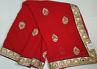 Индийские сари 6 метров красного цвета