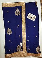 Индийские сари 6 метров Синего цвета