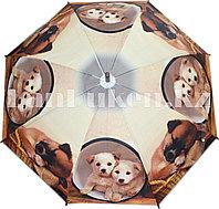 Зонт-трость с принтом (собаки) коричневая ручка