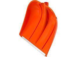 Лопата снеговая пластиковая с алюминиевой планкой без черенка, 410 мм, оранжевая,