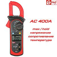UNI-T UT-202, 400A AC, токоизмерительные клещи, с функцией мультиметра + температура , фото 1
