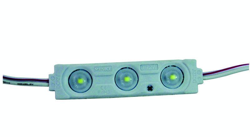 Трехточечный (2835) с линзой и алюминиевым теплоотводом 0.72W (IP67) Белый