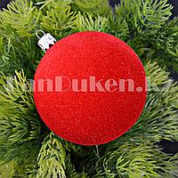 Набор шариков с бархатной поверхностью d 8 cм 4 шт (красные)