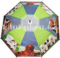 Зонт-трость с принтом (собаки) черная ручка