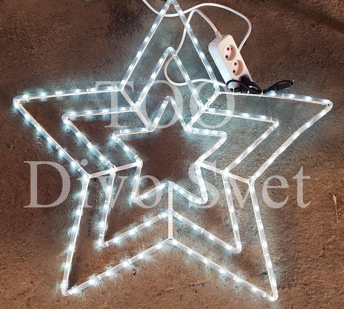 Светодиодная Звезда 80*80 см., Led Звезда, Звезда из дюралайта, Трехцветная световая звезда