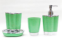 Набор для ванны 4 в 1, пластиковый, зеленый