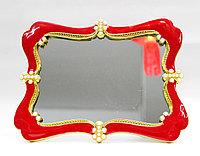 Косметическое зеркало 20*15 см, красная рама