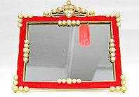 Косметическое зеркало 20*15 см, прямоугольное, красная рама