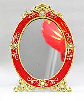 Косметическое зеркало 20*10 см, овальное, красная рама