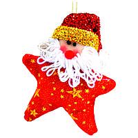 Ёлочная игрушка звезда, санта 12,5см