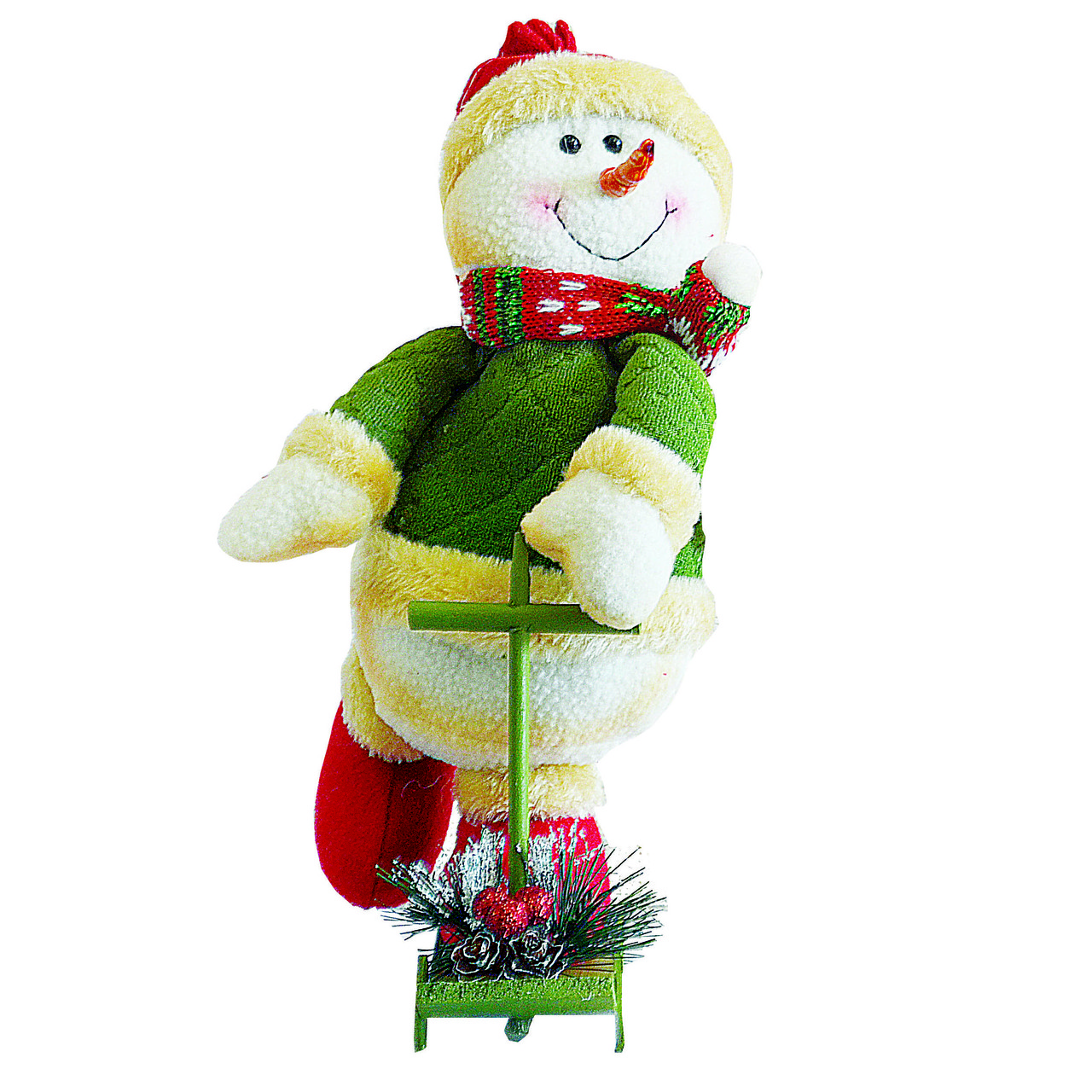 Снеговик на самокате 25см