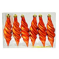 Ёлочные игрушки, шишки оранжевые 11см, 6шт.