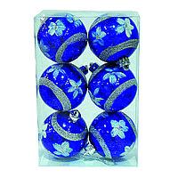 Ёлочные игрушки, шары синие 6см, 6шт.