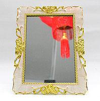 Косметическое зеркало 20*10 см, вертикальное, белая рама