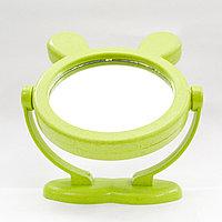 Косметическое зеркало, двухстороннее, зеленое, 17 см