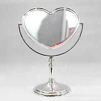 Косметическое зеркало, двухстороннее, сердечко, 24 см