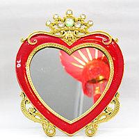 Косметическое зеркало 25*10 см, сердечко красное