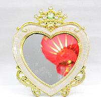Косметическое зеркало 25*10 см, сердечко белое