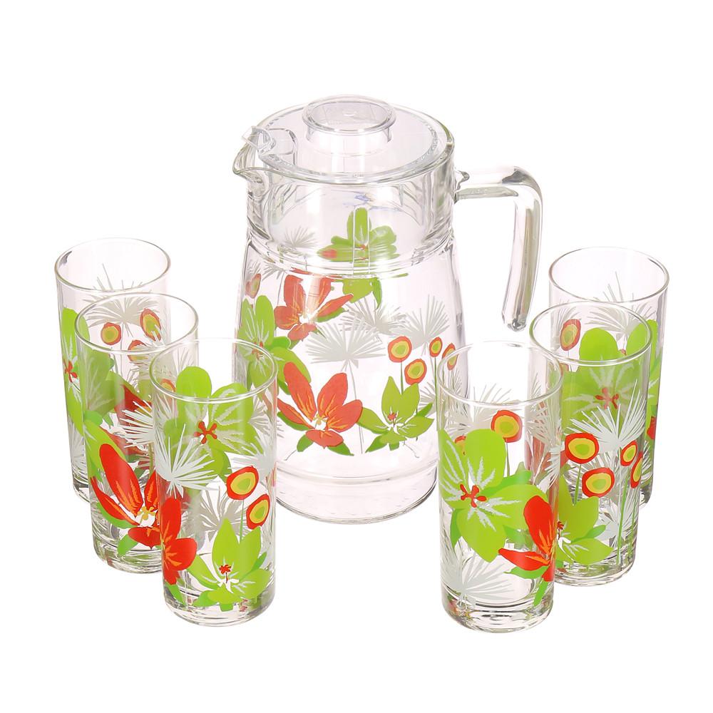 Набор питьевой Luminarc Pop Flowers Green 7пр.