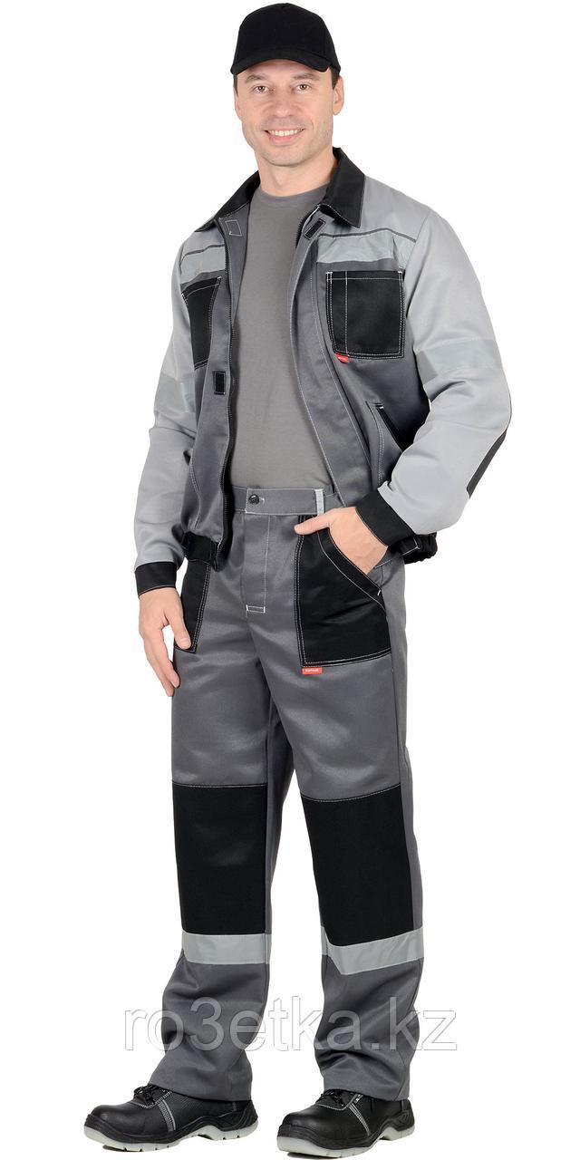 """Спецодежда летняя Костюм """"Лигор"""" куртка, брюки т.серый со св.серым и черным СОП 50мм"""