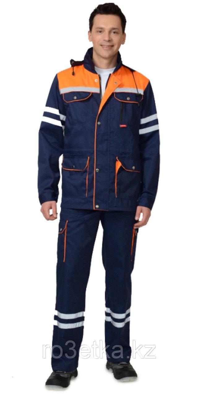 """Спецодежда летняя Костюм """"ЛИДЕР"""" летний: куртка, полукомбинезон синий с оранжевым и СОП 25 мм."""