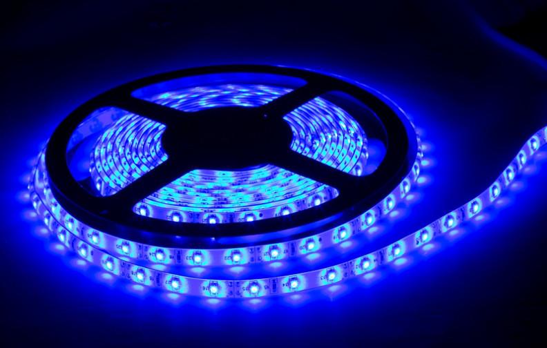 Влагозащищенная светодиодная лента 3528, 60 Д/М (IP65), Цвет - Синий