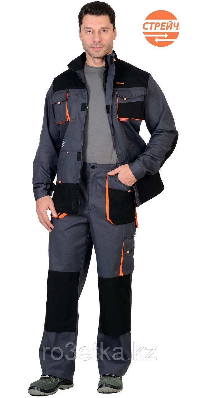 """Спецодежда летняя Костюм """"МАНХЕТТЕН"""" длинная куртка, брюки, т.серый с оранжевым и черным"""