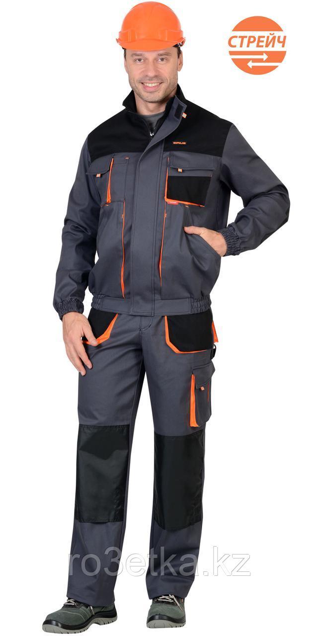 """Спецодежда летняя Костюм """"МАНХЕТТЕН"""" короткая куртка, брюки, т.серый с оранжевым и черным"""