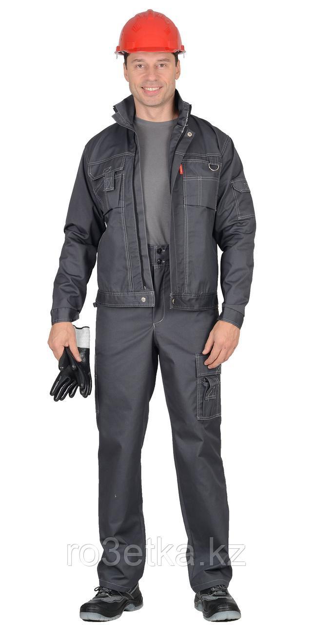 """Спецодежда летняя Костюм """"ПЛУТОН"""": куртка, брюки тёмно-серый со светло-серой отстрочкой (с/з от 300 шт.)"""