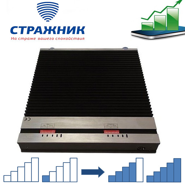 Усилитель сотового сигнала двухдиапазонный, Стражник GSM-900 3G-2100, 1000м2