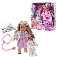 Кукла интерактивная Bambolina Молли Доктор (частично мягконабивная) со стетоскопом и собачкой