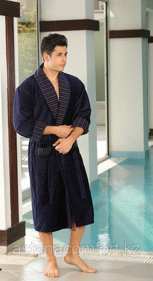 Мужской халат велюр-махра с воротником шалька
