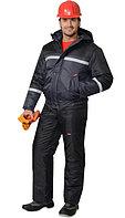 """Спецодежда зимняя Костюм """"ГАСТАРБАЙТЕР-2"""" зимний: куртка, брюки тёмно-серый с чёрным и СОП"""