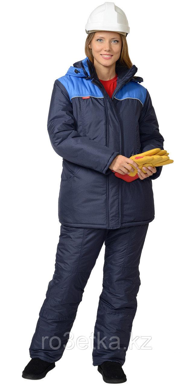 """Спецодежда зимняя Костюм """"Снежана"""" женский: куртка дл., п/комб. синий с васильковым"""