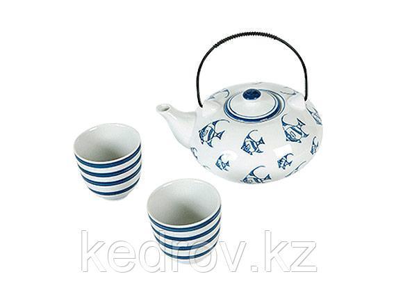 """Набор """"Круиз"""" (чайник + 2 пиалы) 700/160мл (фарфор)"""