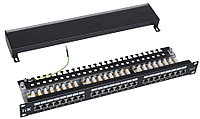 ITK 1U патч-панель кат.5Е STP, 24 порта (Dual), с кабельным органайзером