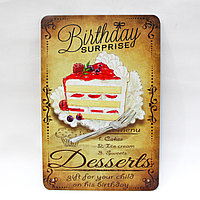 "Декоративная жестяная табличка, ""Birthday"", 30*20 см"