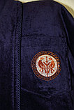 Мужской халат велюр-махра с воротником шалька. Турция, фото 2