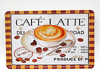"""Декоративная жестяная табличка, """"CAFE LATTE"""", 20*30 см"""