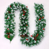 Хвойная гирлянда заснеженная с шишками и ягодами (пышная) 3 метра