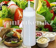 Бутылочка пластиковая для соуса (соусница для кетчупа, майонеза, горчицы) белая 450 мл