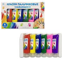 Краски пальчиковые смывающиеся (6 цветов) в открытой коробке
