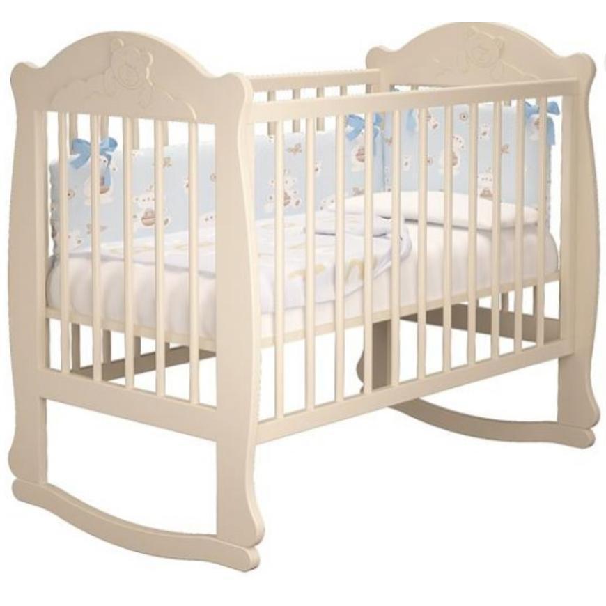 Детская кроватка Мишутка без ящика (белая,слон кость)