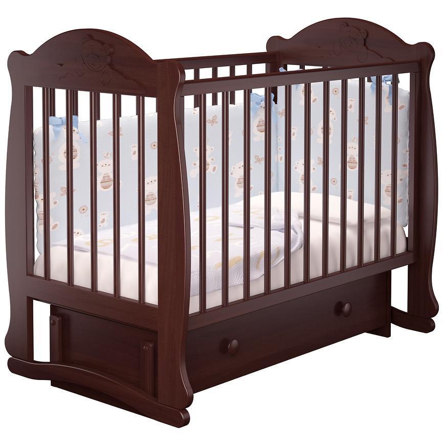 Детская кроватка Мишутка с ящиком (бук, орех)