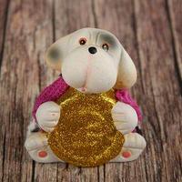 Сувенир керамика 'Щенок в вязаном джемпере с золотой монетой' 8,5х8х6 см