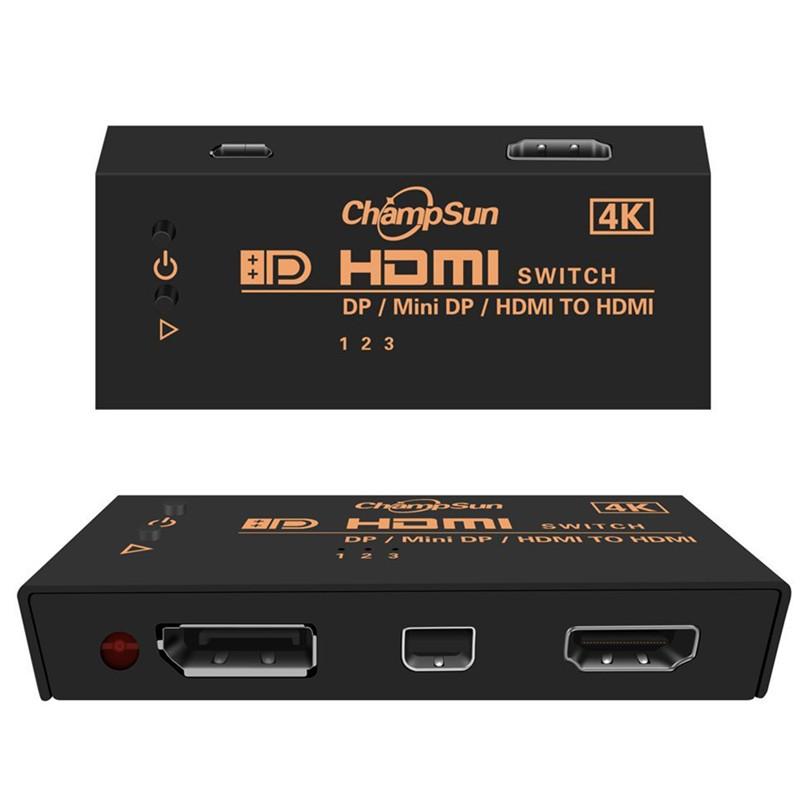 Селектор HDMI  3 входа(DP,Mini DP,HDMI) 1 выход HDMI,v 1,4   4Kx2K
