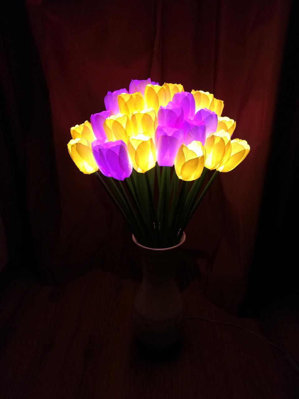 Светодиодные уличные Тюльпаны(20 цветов), желтые, розовые, красные